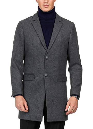 - PAUL JONES Mens Premium Winter Single Breasted Notched Collar Overcoat Jacket Dark Grey