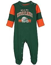 "Miami Hurricanes NCAA Newborn Green /""Team Believer/"" Long Sleeve Coverall"
