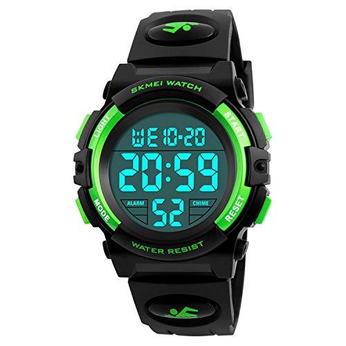 Kids Digital Watch Outdoor Sports 50M Waterproof Electronic Watches Alarm Clock 12/24 H Stopwatch Calendar Boy Girl Wristwatch - Green