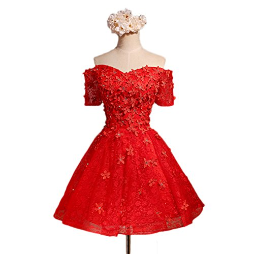 Short Dress BessWedding Women's Dress Shoulder Cocktail for Red Appliques Off Party Z5zqzfxaw