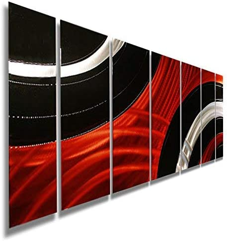 Statements2000 Abstract Geometric Large Painted Metal Wall Hanging Sculpture Panels 3D Art by Jon Allen, Red Black Silver, 68 x 24 – Critical Mass