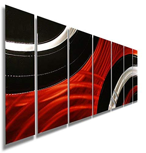 Statements2000 Abstract Geometric Large Painted Metal Wall Hanging Sculpture Panels 3D Art by Jon Allen, Red/Black/Silver, 68