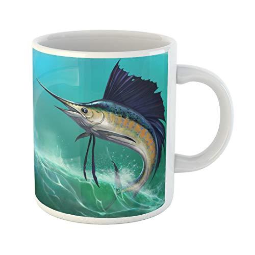 Emvency Funny Coffee Mug Blue Marlin Sailfish on the of Waves in Jump Jumping Swordfish Water Animal Aquatic 11 Oz Ceramic Coffee Mug Tea Cup Best Gift Or Souvenir ()