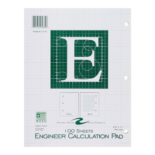 Roaring Spring Engineering Pad, 8.5 x 11 Inches, Green, 100