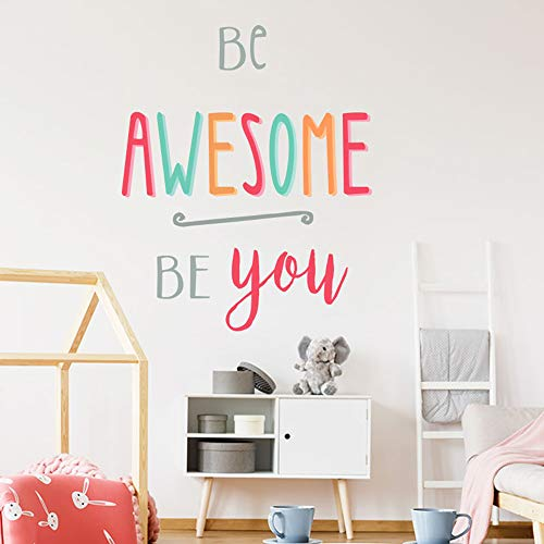 Set of 2 Inspirational Quotes Wall Decals Be Bright,Be Happy,Be YouTiful,Be Awesome, Be You Positive Life Attitude Vinyl Art for Classroom Bedroom Office School Decor