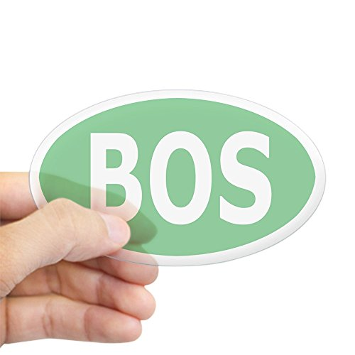 CafePress - BOS Sticker/Decal - Light Green, White Text - Oval Bumper Sticker, Euro Oval Car (Large White Oval Exterior Light)
