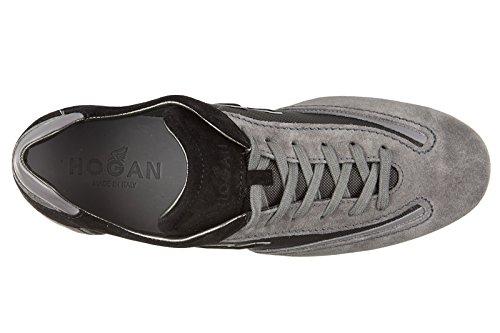 Hogan chaussures baskets sneakers homme en daim olympia slash h flock gris