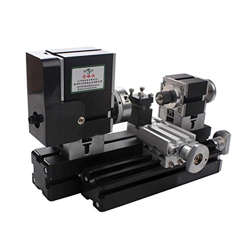 Mini Metal Lathe Soft Metalworking Woodworking Machine DIY Model Making Tools 12000rpm 60W with Adapter by top-tool