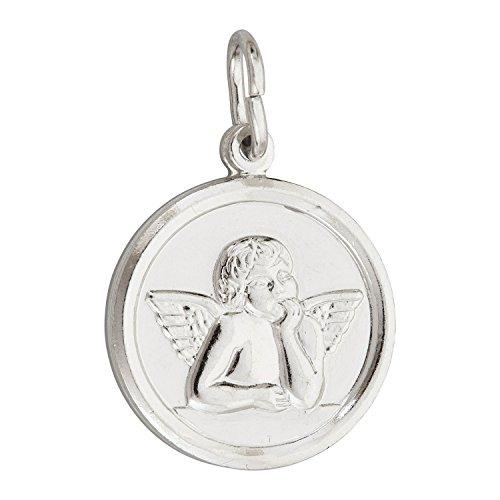 Decadence Sterling Silver Round Cherub Angel Medal