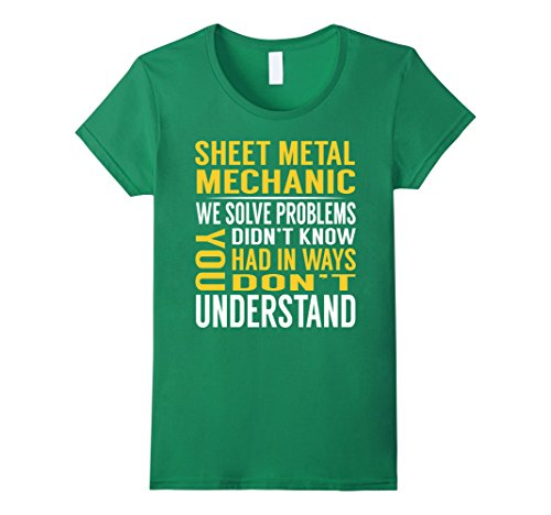 Womens Sheet Metal Mechanic Solve Problems TShirt Large Kelly (Mechanic Outfit)