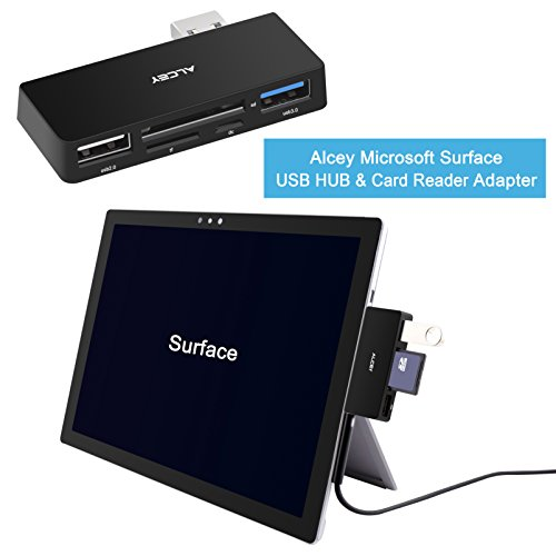 Alcey Microsoft Surface USB HUB 3.0 & 2-Slot Card Reader 4 in 1 Adapter - SD/SDHC/MMC4.0, Micro SD/SDHC, USB 3.0 Port, USB Host with Optional Micro USB Input
