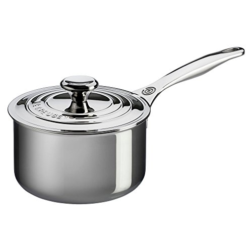 Le Creuset Tri-Ply Stainless Steel Saucepan with Lid, 2-Quart