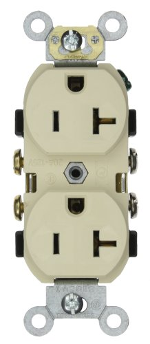 Leviton CR20-I 20-Amp, 125-Volt, Narrow Body Duplex Receptacle, Straight Blade, Commercial Grade, Self Grounding, Ivory
