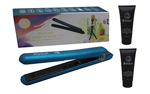 Professional Hair Straightener – Shine Infusing Flat Iron & Curler with Steam Technology + Comb and Travel Case + Argan Oil Shampoo and Conditioner – by Rebel - Blue