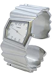 Fancy Polished Silver Finish Cuff Fashion Geneva Wide Bangle Quartz Womens Watch