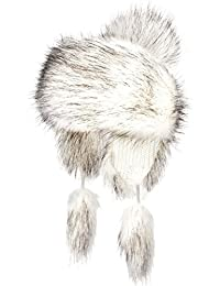Futrzane Trapper Hat Faux Fox Fur Winter Women Russian Style (White with Black)