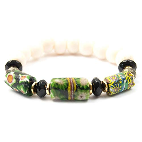 (Black/Green Antique Venetian Millefiori Bead Bracelet with Onyx - 7 Inches Long Handmade African Trade Bead Bracelet by Miller Mae Designs)