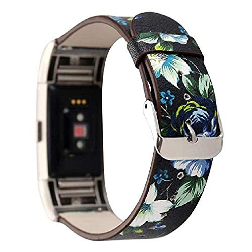Price comparison product image Fashion Clearance! Noopvan Fitbit Charge 2 Strap,  Lightweight Floral Leather Band Adjustable Replacement Accessory for Fitbit Charge 2 Smart Fitness Watch (C)