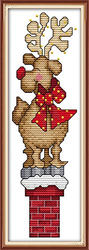 YEESAM ART New Cross Stitch Kits Advanced Patterns for Beginners Kids Adults - Christmas Lucky Deer - DIY Needlework Wedding Christmas Gifts (Lucky Deer, White) -