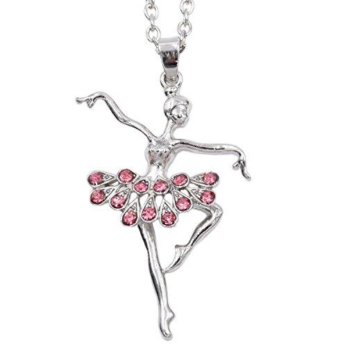 LParkin Dance Necklace For Teen Girls Dancer Ballet Recital Gift Ballerina Dance Necklaces Teen Girls Jewelry (Pink)