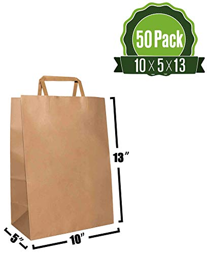 Brown Kraft Paper Gift Bags Bulk with Flat Handles 10 X 5 X 13 [50Pc]. Ideal for Shopping, Packaging, Retail, Party, Craft, Gifts, Wedding, Recycled, Business, Goody and Merchandise Bag