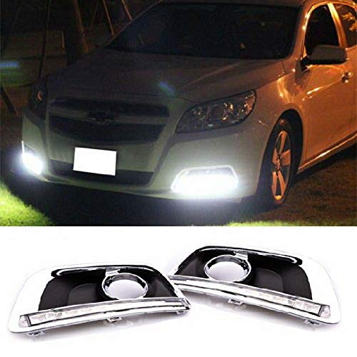 iJDMTOY Switchback LED Daytime Running Light Kit For 2013-2015 Chevrolet Malibu, White/Amber DRL Bezel Assy w/Module Box, Powered by 22 Pieces LED Lights ()