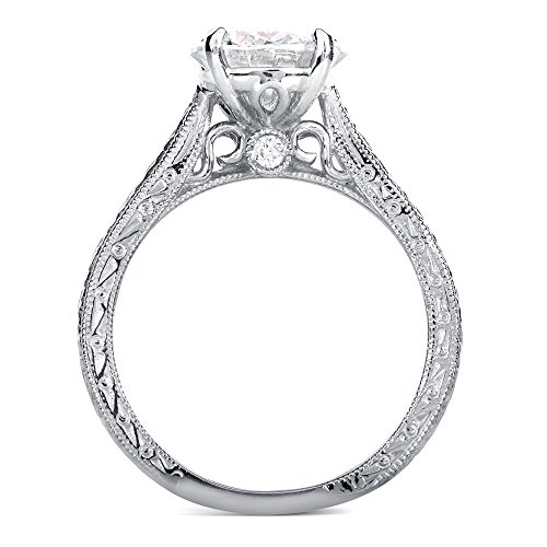 Antique Style Moissanite Engagement Ring With Diamond 1 1 2 Ctw 14k