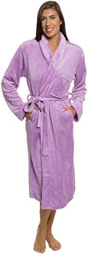 Silver Lilly Womens Plush Wrap Kimono Loungewear Robe (Lavender, L/XL) - Length Nightgown Tea