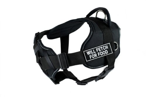 Dean & Tyler New DT FUN Dog Harness With Padded Chest Piece With 3 Straps, Reflective Trim - Size: Medium (Will Fit: 28'' - 34'') with ''WILL FETCH FOR FOOD'' Velcro Patches, Black/White by D&T HARNESSES