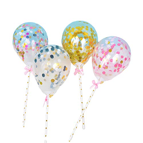 5 inch Glitter Confetti Balloons Mini Clear Latex Balloons Cake Topper Decor Multi-color Birthday Party Wedding Cake Decoration (pink)