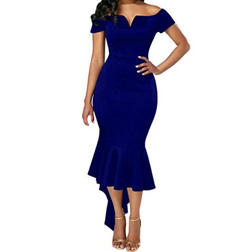 Kstare Women V-Neck Off The Shoulder Long Sleeve Slim Elastic Dovetail Evening Party Dresses Bodycon Wrap Tunic Pencil Midi Dress (S, (Strapless Pencil)