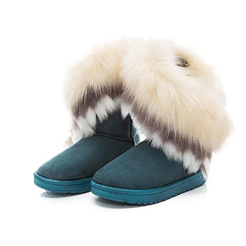 Verde Piel ® Mujer ouneed Mujer Moda Nieve De Zapatos Caliente Botas Zvw64qK