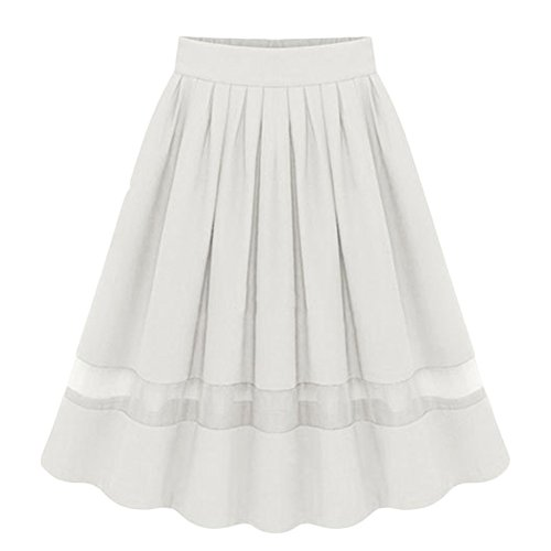 elastico stile Casuali Line Bianca svasata Stitching knee alta zaffiro pieghe A piegoni vintage in Gonna Blu Gonna lunghezza vita Donne vita X5nqdq