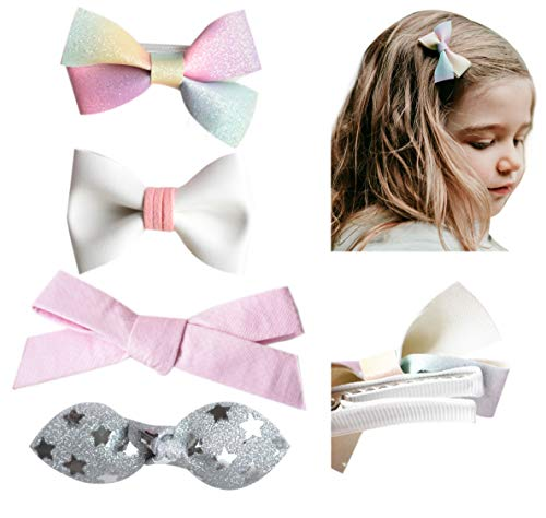 California Tot Premium Faux Leather, Fabric Bow Fine Hair Clips for Toddler, Girls, Mixed Set of 4 (Magical Rainbow Set)