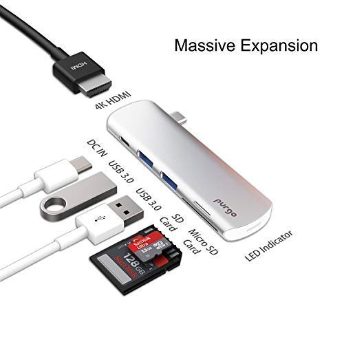 Purgo USB C Hub Adapter Dongle for MacBook 12-Inch, MacBook Air/Pro 2018, iPad Pro 2018 and More with 4K HDMI, USB-C Charging, 2 USB 3.0 and SD/Micro Card Readers.