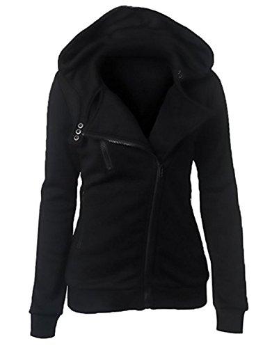 Sweatshirt Lunga Con Cappuccio Cappotto A Donna Nero Felpa Chiusura Asimmetrica Cerniera Hoodie Giacca Manica wqvwxIZ60