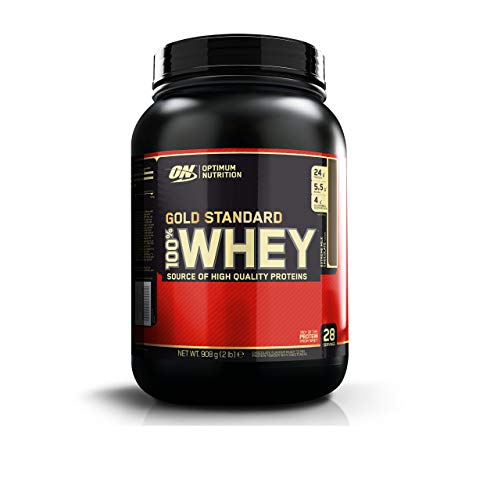 Optimum Nutrition Gold Standard Whey Protein Powder with Glutamine and Amino Acids, Protein Shake by ON - Extreme Milk Chocolate, 28 Servings, 908 g