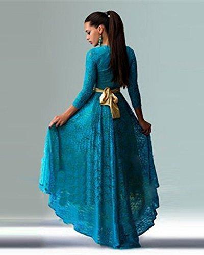 ZongSen t Clair Ceremonie Soire Chic Cocktail Bleu Femme Longue Manche Robe Robe De rRqCr1xw
