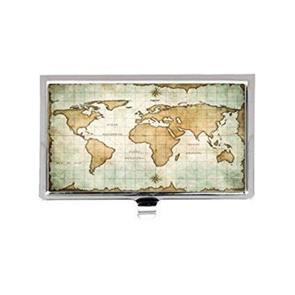 Original Design Art Print World Map Travelling the World Vogue Picture Printed Custom Images Business Card Holder Name Case