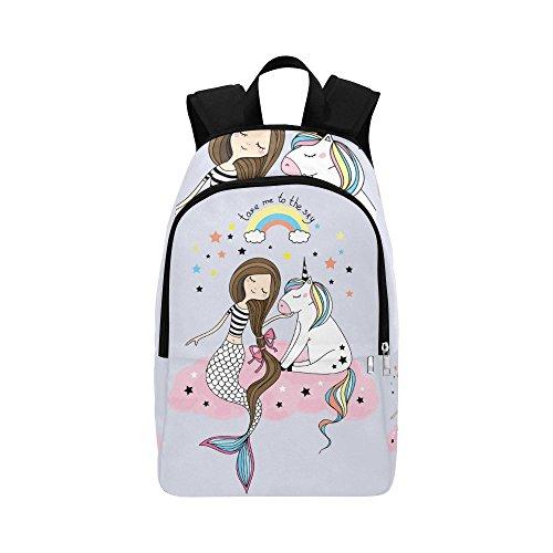 your-fantasia Casual Daypack Travel Backpack Unicorn And Mermaid School Bag Waterproof Nylon