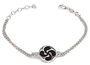 Aden's Jewels-Soporte para joyas, faldones, diseño de cruz vasca-Pulsera de plata-Mixto-esmaltado, color negro, largo: 29 cm, altura regulable