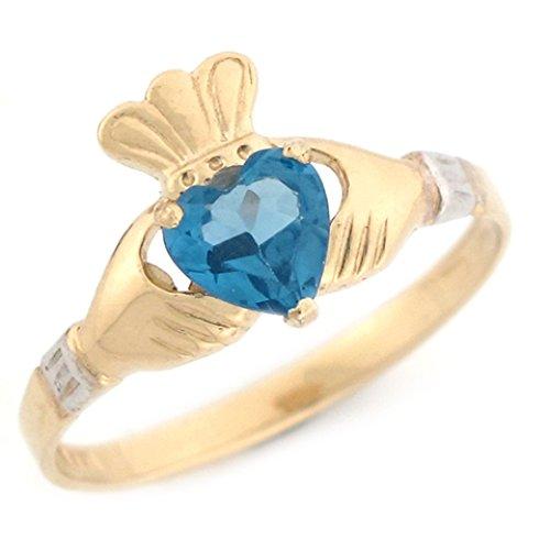 - Jewelry Liquidation 10k Gold Claddagh Simulated Blue Zircon December Birthstone Ring
