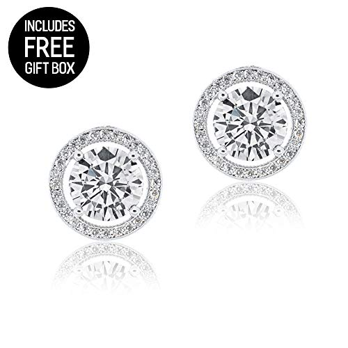 Amazon Cyber Monday Deals 2018 - Robert Matthew Sofia 18k White Gold Stud Earrings, Large Round Cut CZ Halo Stud Earring Set for Women, Silver Cubic Zirconia Halo Post Earrings Stud, Christmas Jewelry