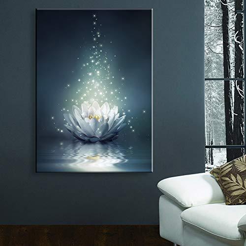 RUI Mural@ Impresiones De La Lona Arte De La Pared LED Loto Iluminarse Pintura Art Luminoso Candente Destello Cuadro para...