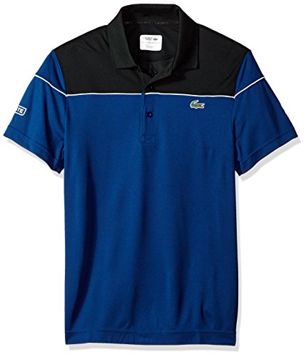Lacoste Mens Short Sleeve Pique Ultra Dry with Colorblock & Contrast Piping Polo, DH4121