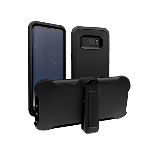 Samsung Galaxy S8 Plus Case, ToughBox [Armor Series] [Shockproof] [Black] for Galaxy S8 Plus Case [with Holster & Belt Clip] [Fits OtterBox Defender Series Belt Clip]