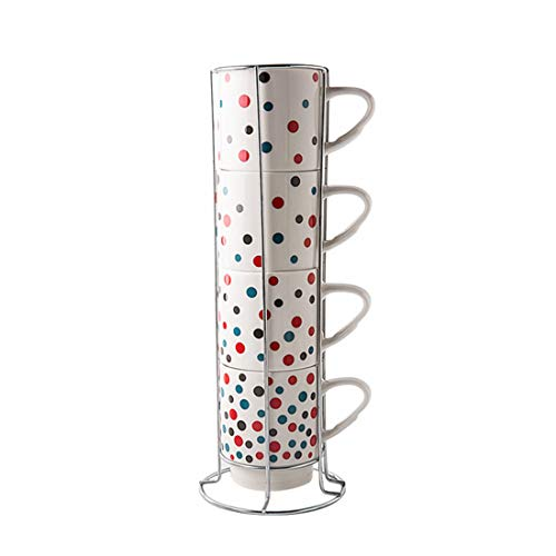 Mr.Mug & Ms.Cup Porcelain Mugs Set - 13 Ounce Stack-able Cups Set with Chrome Rack Holder for Coffee, Tea, Cocoa (Set Coffee Mug Rack With)