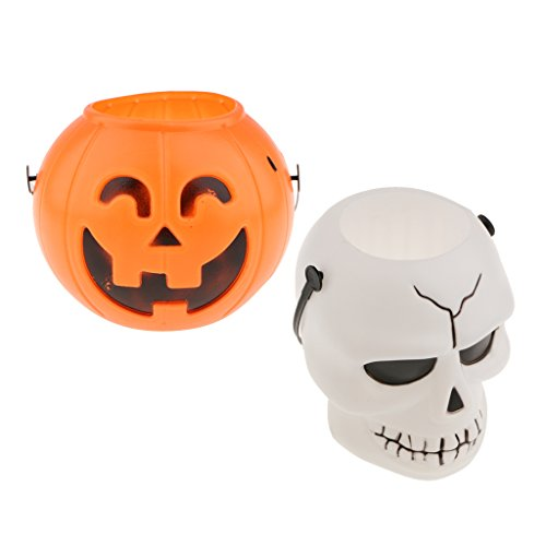 Baoblaze 2x Halloween Themed Kid Trick or Treat Candy Sweet Holder Bucket with Handle, Kids Halloween Toys Gifts ()
