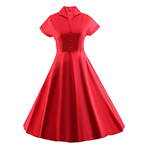 Années 50 Millésime Été Des Femmes Audrey Hepburn Meilleurs Pour La Santé Des Années 60 Robe À Manches Courtes Rouge