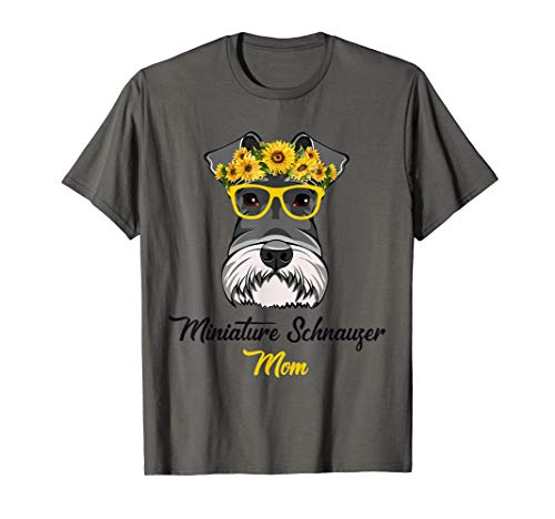 Miniature Schnauzer Mom Shirt Sunflower Dog Lovers Mother's
